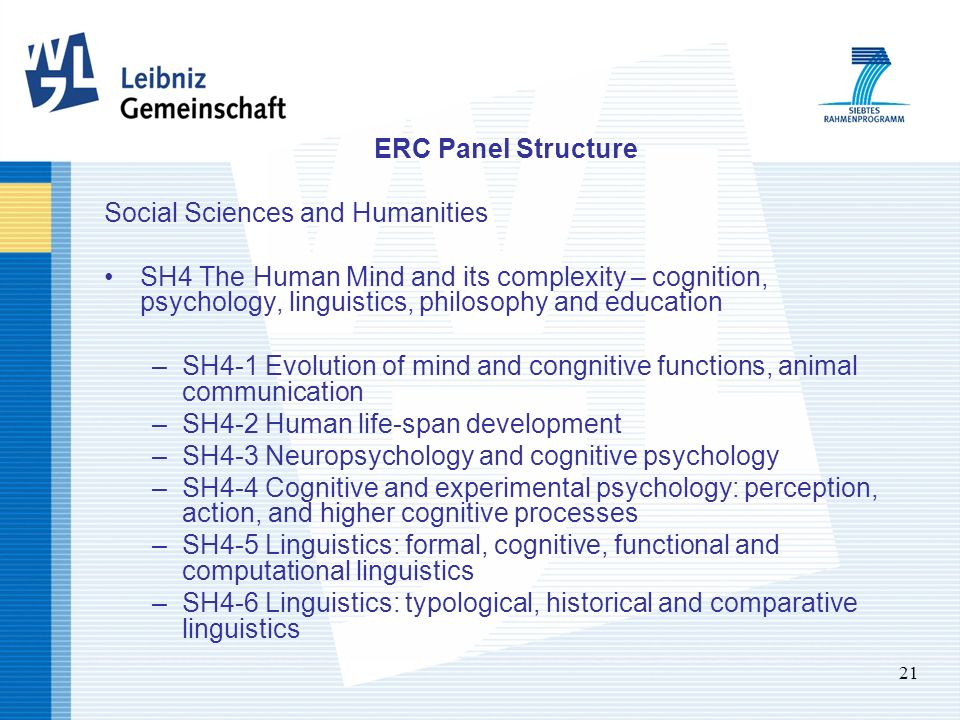 21 ERC Panel Structure Social Sciences and Humanities SH4 The Human Mind and its complexity – cognition, psychology, linguistics, philosophy and education –SH4-1 Evolution of mind and congnitive functions, animal communication –SH4-2 Human life-span development –SH4-3 Neuropsychology and cognitive psychology –SH4-4 Cognitive and experimental psychology: perception, action, and higher cognitive processes –SH4-5 Linguistics: formal, cognitive, functional and computational linguistics –SH4-6 Linguistics: typological, historical and comparative linguistics