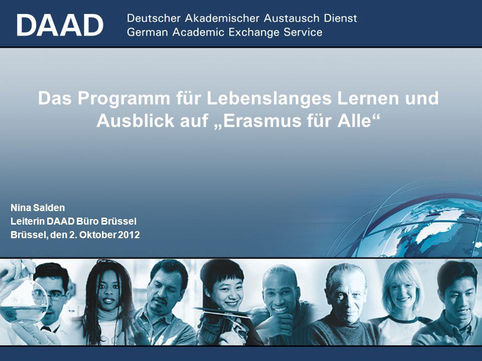 Das Programm für Lebenslanges Lernen und Ausblick auf Erasmus für Alle Nina Salden Leiterin DAAD Büro Brüssel Brüssel, den 2. Oktober 2012