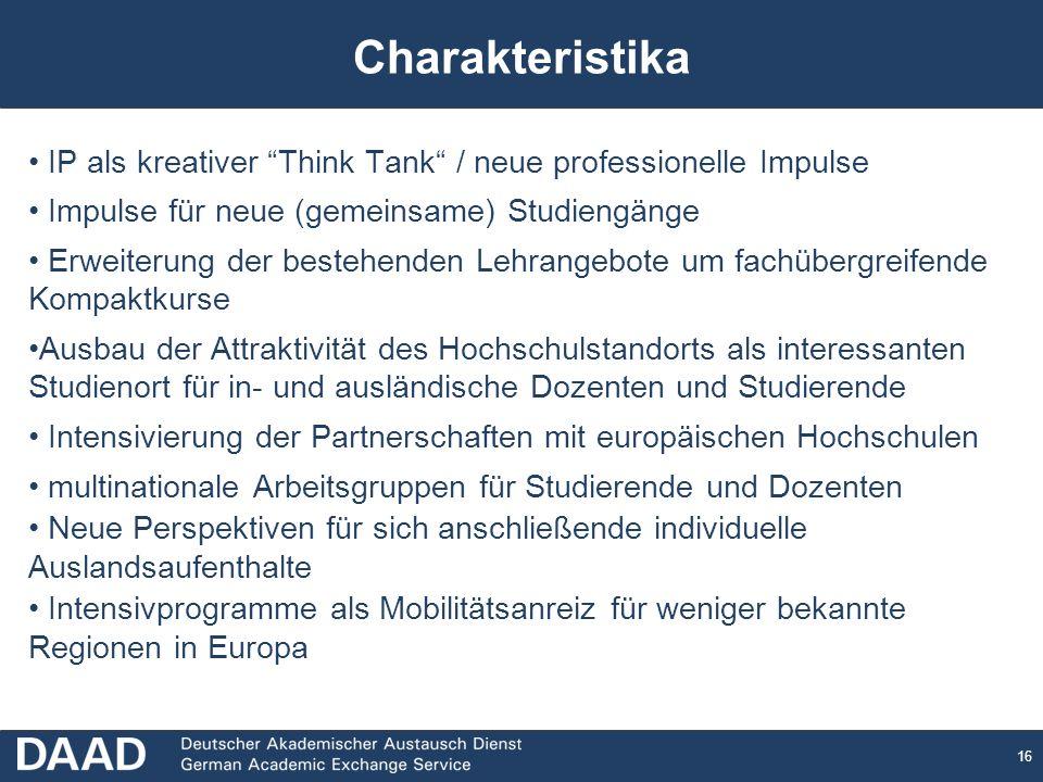 16 IP als kreativer Think Tank / neue professionelle Impulse Impulse für neue (gemeinsame) Studiengänge Erweiterung der bestehenden Lehrangebote um fa
