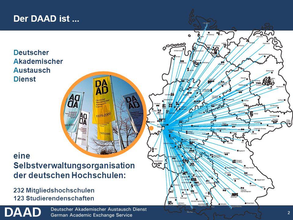 2 eine Selbstverwaltungsorganisation der deutschen Hochschulen: 232 Mitgliedshochschulen 123 Studierendenschaften Deutscher Akademischer Austausch Dienst Der DAAD ist...