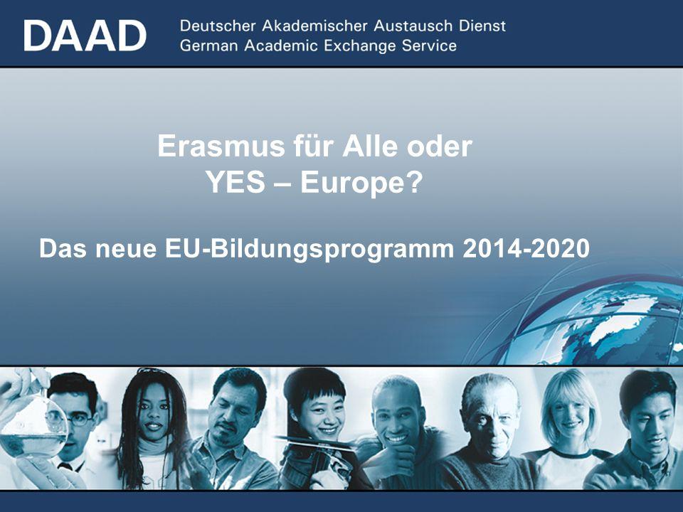 Erasmus für Alle oder YES – Europe? Das neue EU-Bildungsprogramm 2014-2020