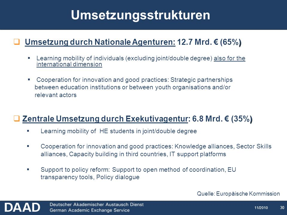 30 11/2010 Umsetzungsstrukturen ) Umsetzung durch Nationale Agenturen: 12.7 Mrd. (65%) Learning mobility of individuals (excluding joint/double degree