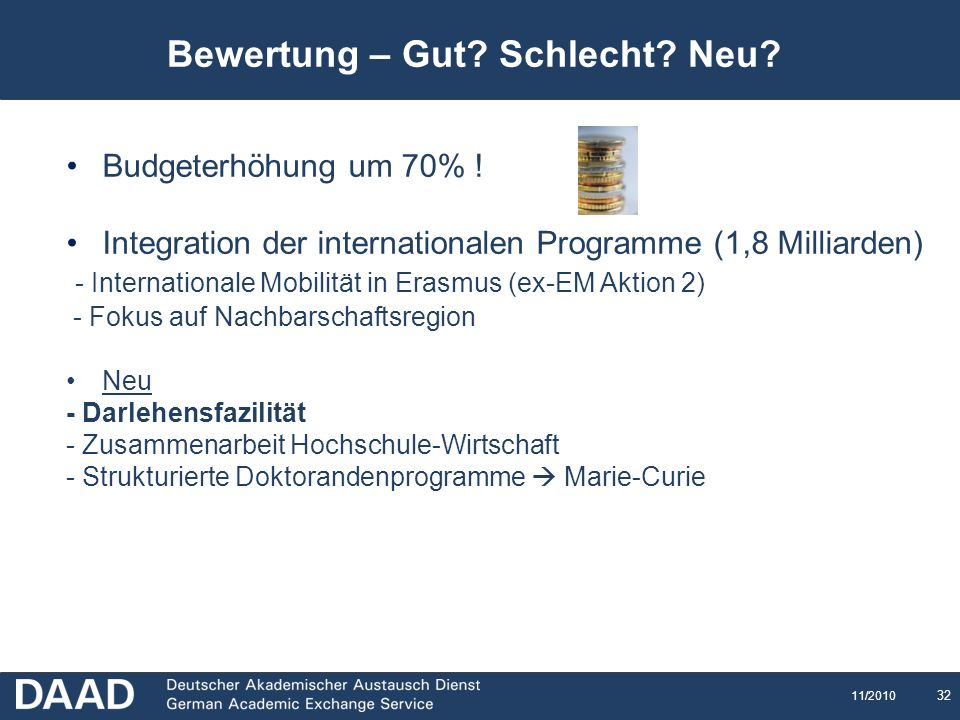 32 11/2010 Bewertung – Gut? Schlecht? Neu? Budgeterhöhung um 70% ! Integration der internationalen Programme (1,8 Milliarden) - Internationale Mobilit