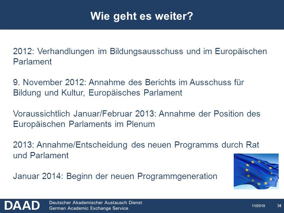 34 11/2010 Wie geht es weiter? 2012: Verhandlungen im Bildungsausschuss und im Europäischen Parlament 9. November 2012: Annahme des Berichts im Aussch