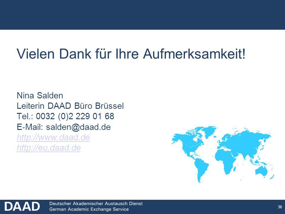 36 Vielen Dank für Ihre Aufmerksamkeit! Nina Salden Leiterin DAAD Büro Brüssel Tel.: 0032 (0)2 229 01 68 E-Mail: salden@daad.de http://www.daad.de htt
