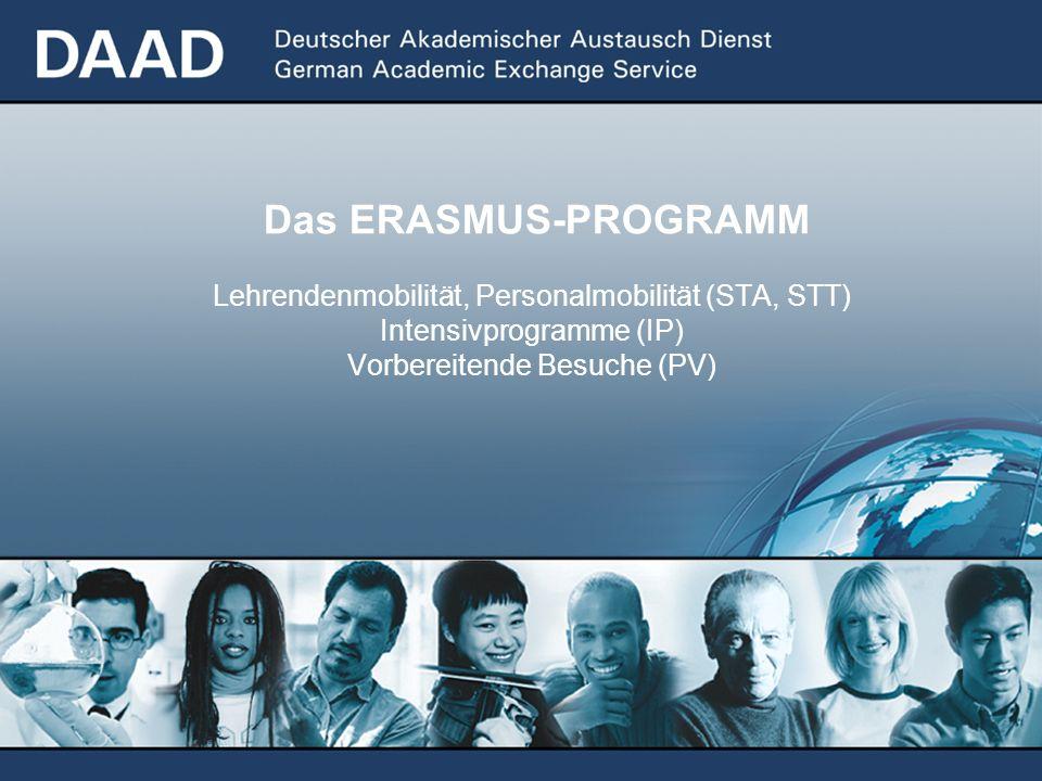 Das ERASMUS-PROGRAMM Lehrendenmobilität, Personalmobilität (STA, STT) Intensivprogramme (IP) Vorbereitende Besuche (PV)