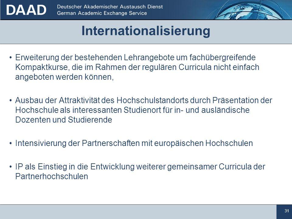 31 Internationalisierung Erweiterung der bestehenden Lehrangebote um fachübergreifende Kompaktkurse, die im Rahmen der regulären Curricula nicht einfa