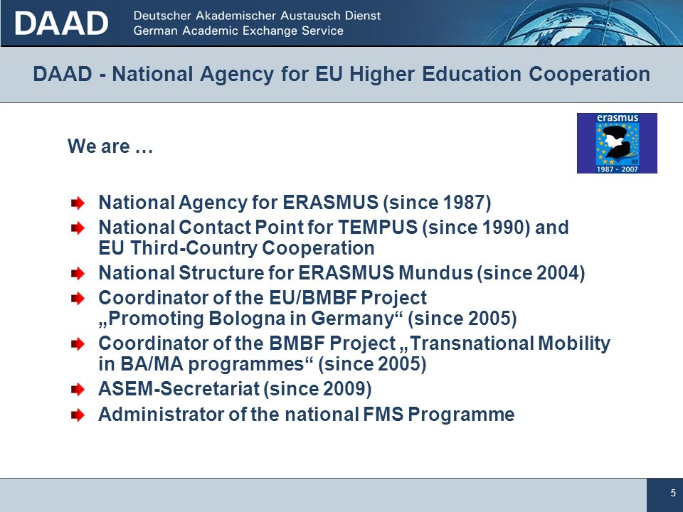 5 National Agency for ERASMUS (since 1987) National Contact Point for TEMPUS (since 1990) and EU Third-Country Cooperation National Structure for ERAS