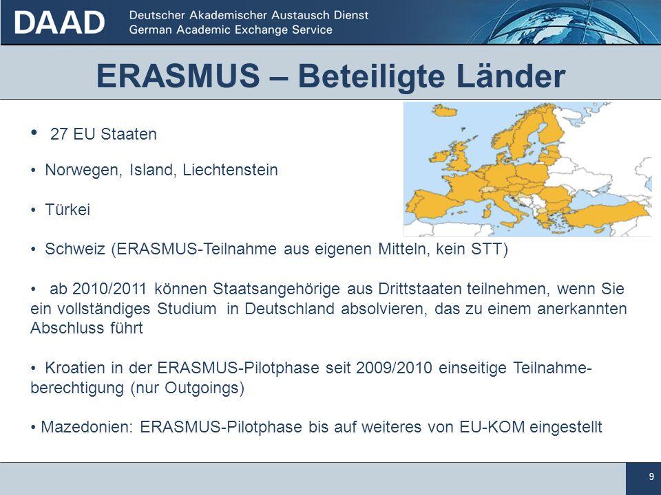 9 ERASMUS – Beteiligte Länder 27 EU Staaten Norwegen, Island, Liechtenstein Türkei Schweiz (ERASMUS-Teilnahme aus eigenen Mitteln, kein STT) ab 2010/2
