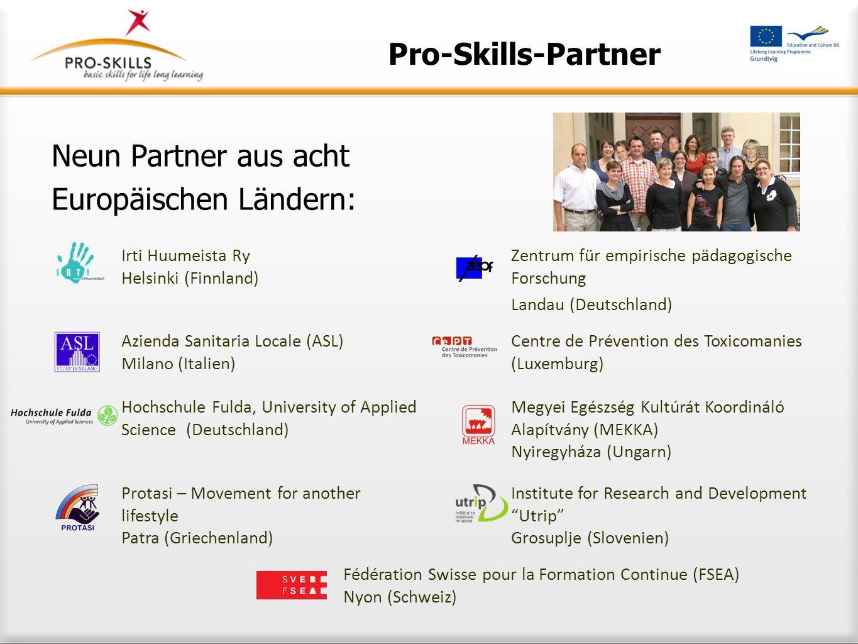Hintergrundphilosophie Manual zum Basiskonzept Train-the-trainer-Konzept Toolbox Sensibilisierungsbroschüre Materialien im Internet www.pro-skills.eu