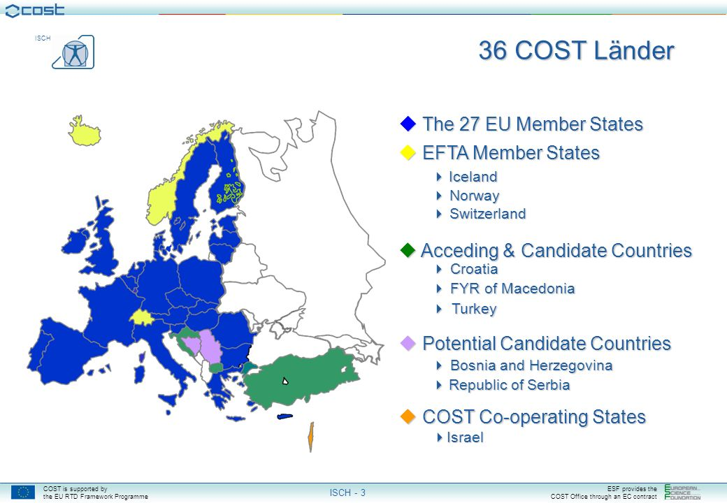 COST is supported by the EU RTD Framework Programme ESF provides the COST Office through an EC contract ISCH ISCH - 3 The 27 EU Member States The 27 EU Member States EFTA Member States Iceland Norway Switzerland EFTA Member States Iceland Norway Switzerland Acceding & Candidate Countries Croatia Acceding & Candidate Countries Croatia FYR of Macedonia FYR of Macedonia Turkey Turkey Potential Candidate Countries Bosnia and Herzegovina Potential Candidate Countries Bosnia and Herzegovina Republic of Serbia Republic of Serbia COST Co-operating States Israel COST Co-operating States Israel 36 COST Länder