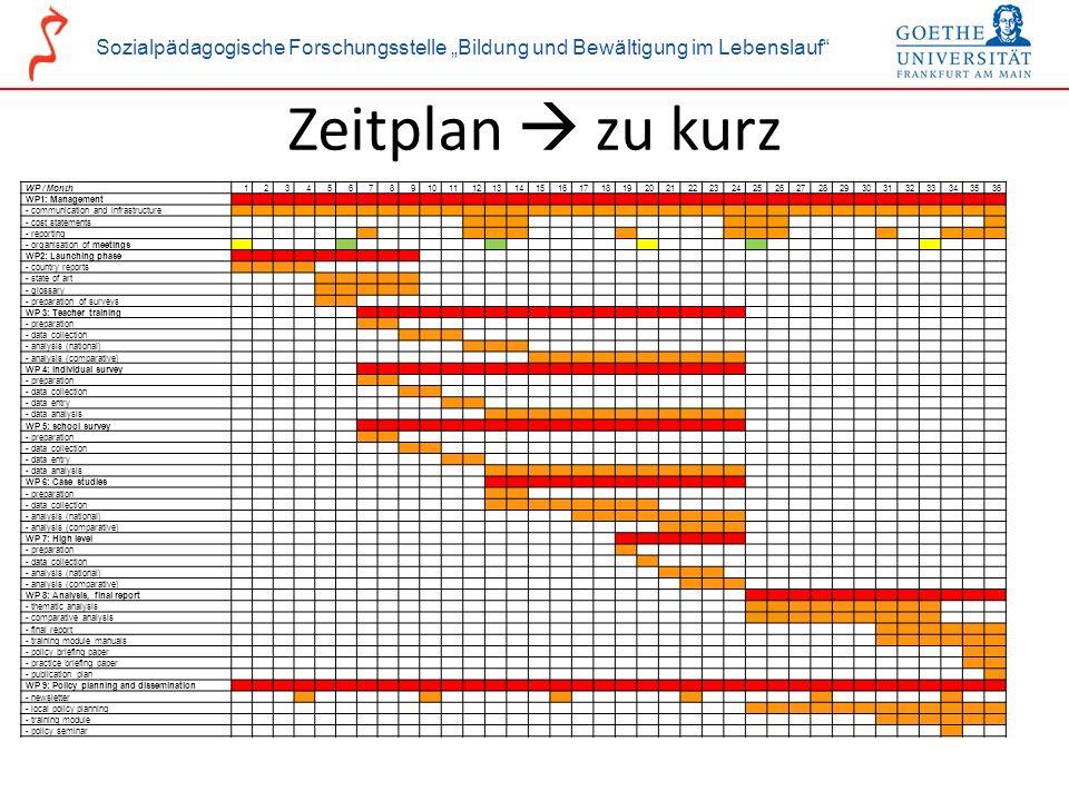 Sozialpädagogische Forschungsstelle Bildung und Bewältigung im Lebenslauf GOETE kick-off event, 28-30 January 2010, Tübingen Zeitplan zu kurz WP / Mon
