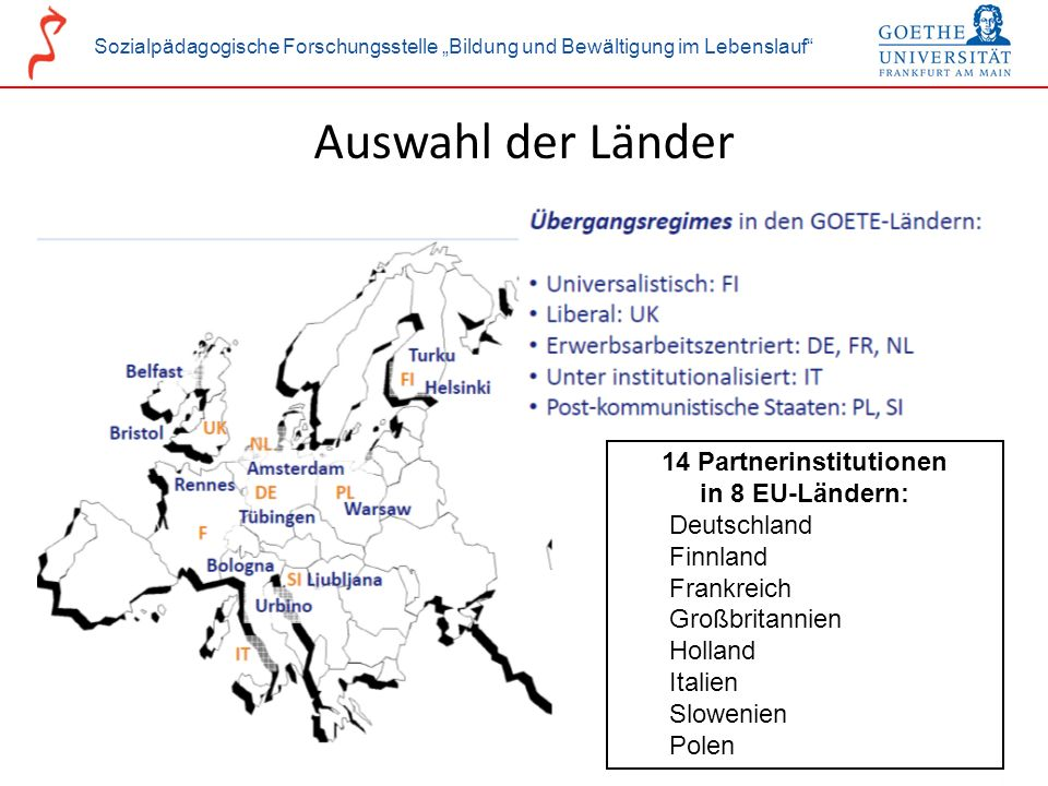 Sozialpädagogische Forschungsstelle Bildung und Bewältigung im Lebenslauf 14 Partnerinstitutionen in 8 EU-Ländern: Deutschland Finnland Frankreich Gro