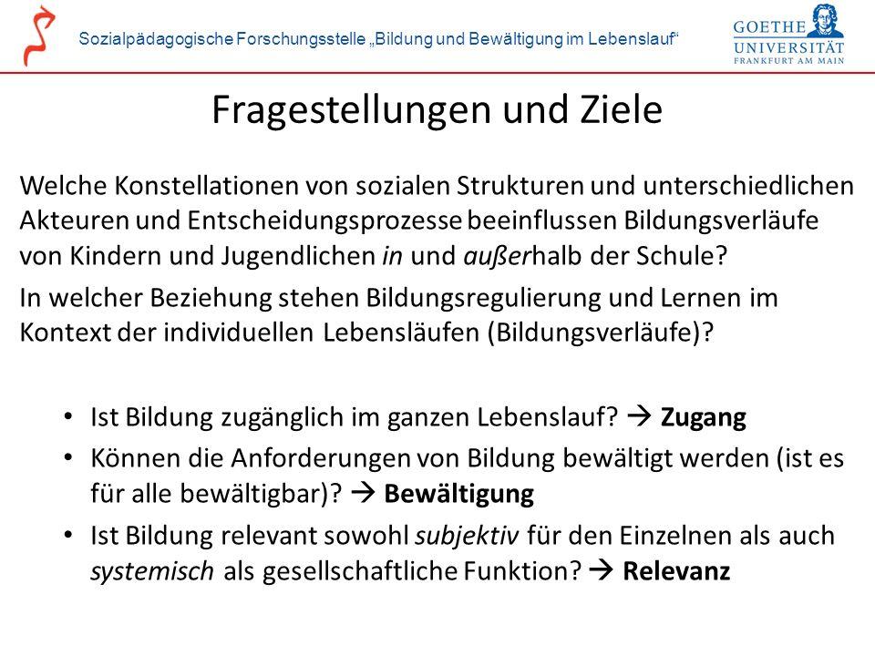 Sozialpädagogische Forschungsstelle Bildung und Bewältigung im Lebenslauf Fragestellungen und Ziele Welche Konstellationen von sozialen Strukturen und