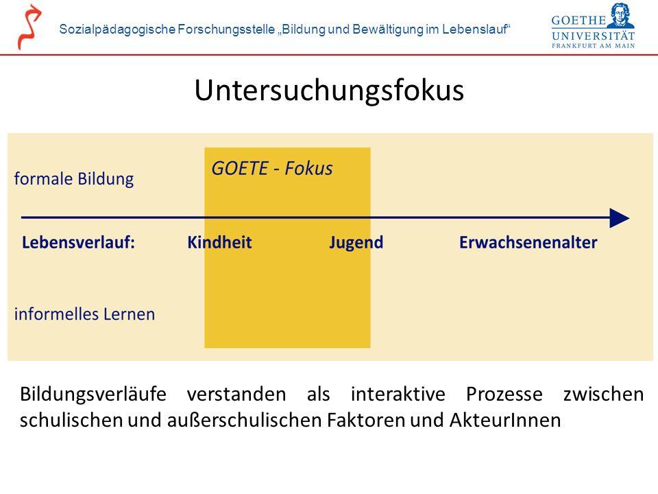 Sozialpädagogische Forschungsstelle Bildung und Bewältigung im Lebenslauf Untersuchungsfokus Bildungsverläufe verstanden als interaktive Prozesse zwis