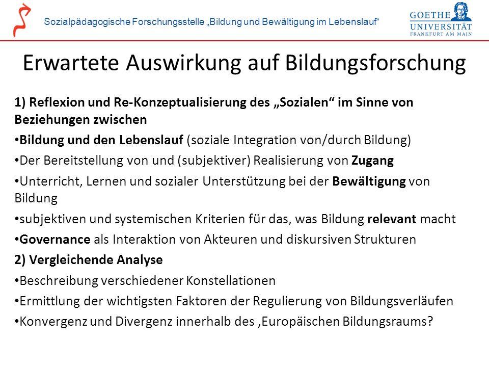 Sozialpädagogische Forschungsstelle Bildung und Bewältigung im Lebenslauf Erwartete Auswirkung auf Bildungsforschung 1) Reflexion und Re-Konzeptualisi