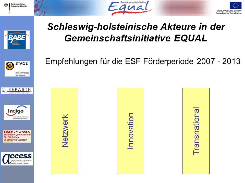 Schleswig-holsteinische Akteure in der Gemeinschaftsinitiative EQUAL Empfehlungen für die ESF Förderperiode 2007 - 2013 NetzwerkInnovationTransnational