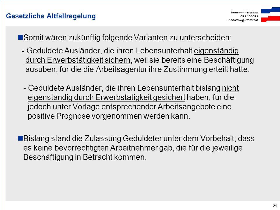 Innenministerium des Landes Schleswig-Holstein 21 Gesetzliche Altfallregelung Somit wären zukünftig folgende Varianten zu unterscheiden: - Geduldete A
