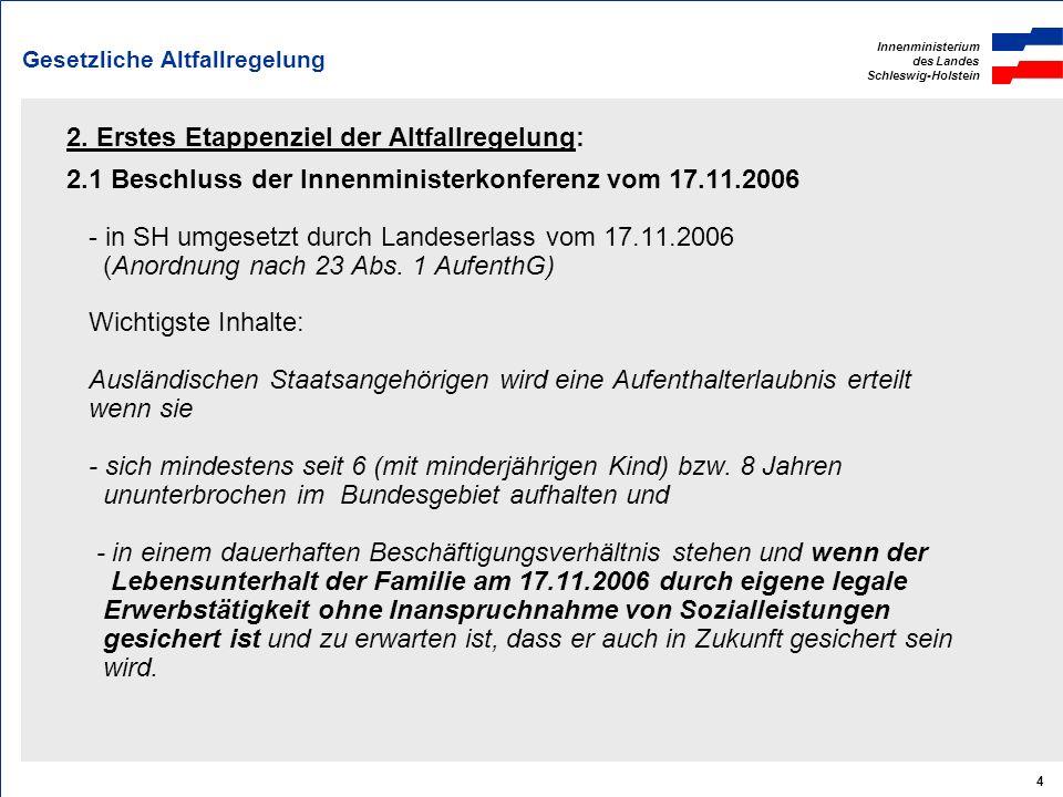 Innenministerium des Landes Schleswig-Holstein 4 Gesetzliche Altfallregelung 2. Erstes Etappenziel der Altfallregelung: 2.1 Beschluss der Innenministe