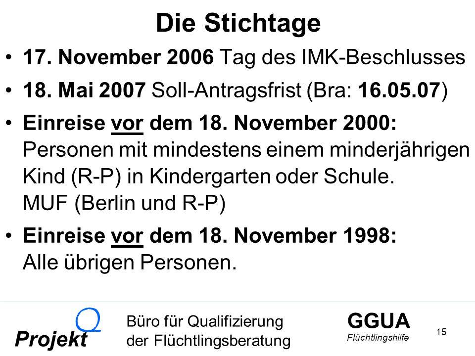 GGUA Flüchtlingshilfe Büro für Qualifizierung der Flüchtlingsberatung Projekt Q 15 Die Stichtage 17.