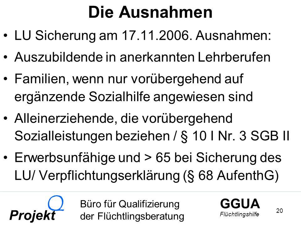 GGUA Flüchtlingshilfe Büro für Qualifizierung der Flüchtlingsberatung Projekt Q 20 Die Ausnahmen LU Sicherung am 17.11.2006.