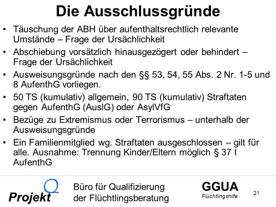 GGUA Flüchtlingshilfe Büro für Qualifizierung der Flüchtlingsberatung Projekt Q 21 Die Ausschlussgründe Täuschung der ABH über aufenthaltsrechtlich relevante Umstände – Frage der Ursächlichkeit Abschiebung vorsätzlich hinausgezögert oder behindert – Frage der Ursächlichkeit Ausweisungsgründe nach den §§ 53, 54, 55 Abs.
