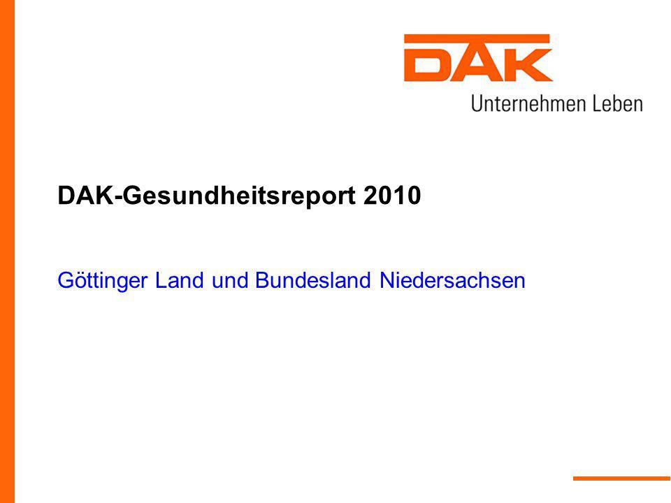 DAK-Gesundheitsreport 2010 Göttinger Land und Bundesland Niedersachsen