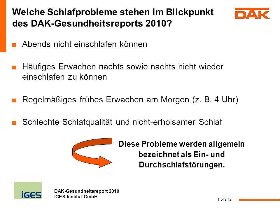 DAK-Gesundheitsreport 2010 IGES Institut GmbH Abends nicht einschlafen können Häufiges Erwachen nachts sowie nachts nicht wieder einschlafen zu können