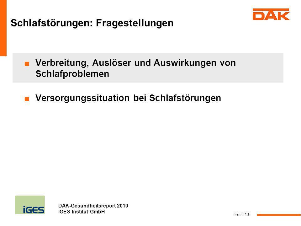 DAK-Gesundheitsreport 2010 IGES Institut GmbH Folie 13 Verbreitung, Auslöser und Auswirkungen von Schlafproblemen Versorgungssituation bei Schlafstöru