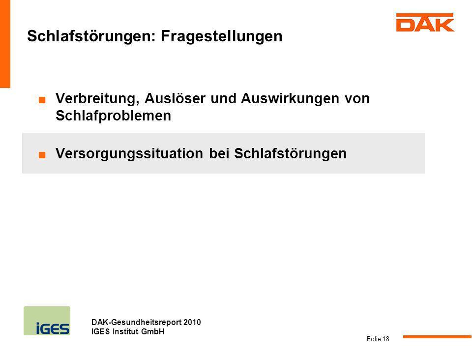 DAK-Gesundheitsreport 2010 IGES Institut GmbH Folie 18 Schlafstörungen: Fragestellungen Verbreitung, Auslöser und Auswirkungen von Schlafproblemen Ver