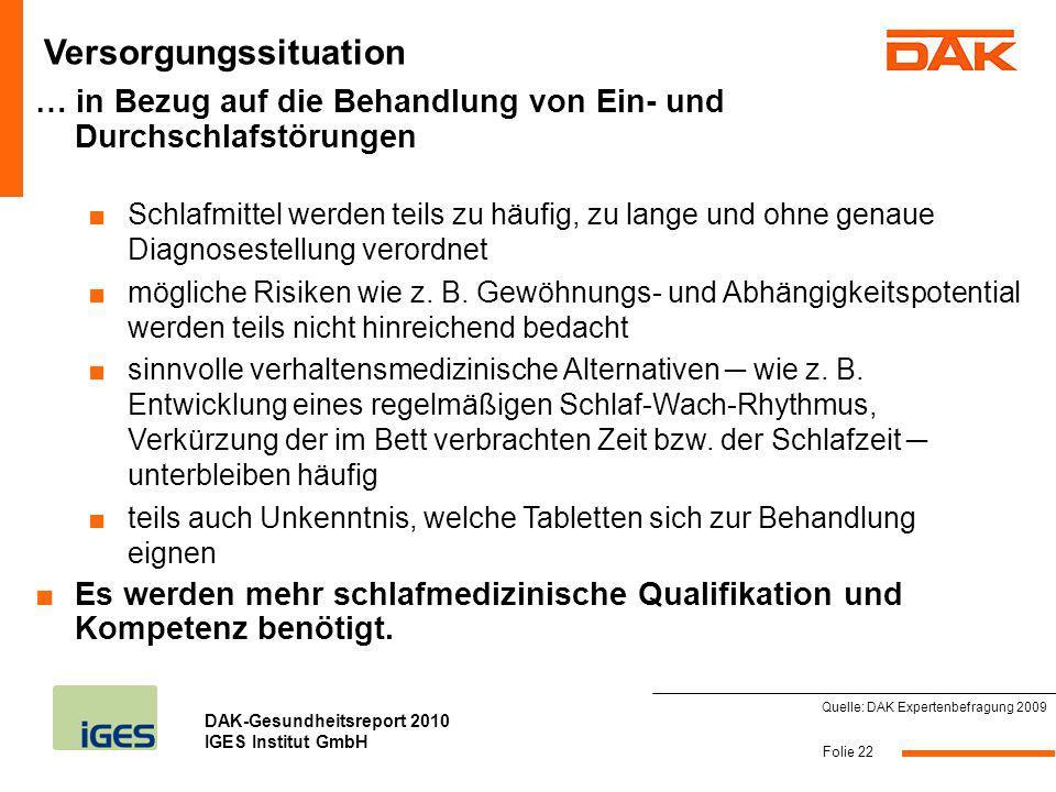 DAK-Gesundheitsreport 2010 IGES Institut GmbH … in Bezug auf die Behandlung von Ein- und Durchschlafstörungen Schlafmittel werden teils zu häufig, zu