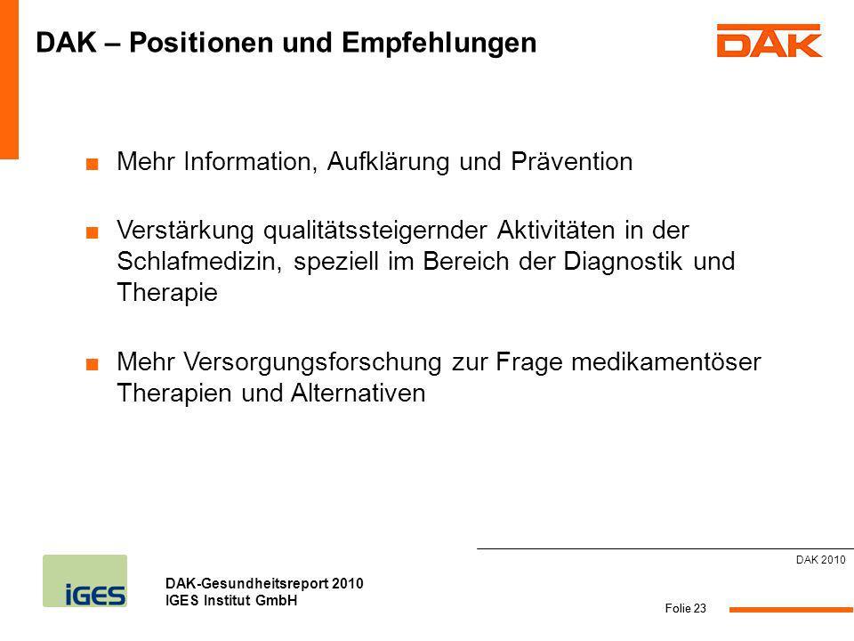 DAK-Gesundheitsreport 2010 IGES Institut GmbH Folie 23 DAK – Positionen und Empfehlungen Mehr Information, Aufklärung und Prävention Verstärkung quali
