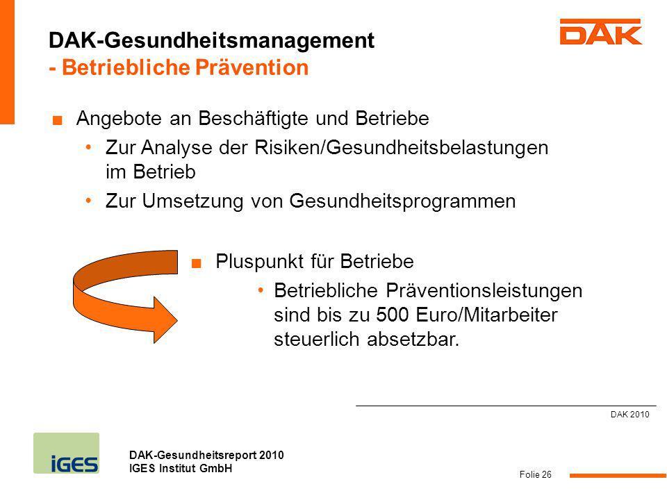 DAK-Gesundheitsreport 2010 IGES Institut GmbH Folie 26 Angebote an Beschäftigte und Betriebe Zur Analyse der Risiken/Gesundheitsbelastungen im Betrieb