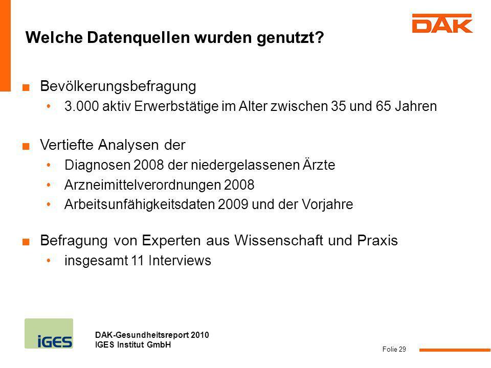 DAK-Gesundheitsreport 2010 IGES Institut GmbH Folie 29 Welche Datenquellen wurden genutzt? Bevölkerungsbefragung 3.000 aktiv Erwerbstätige im Alter zw