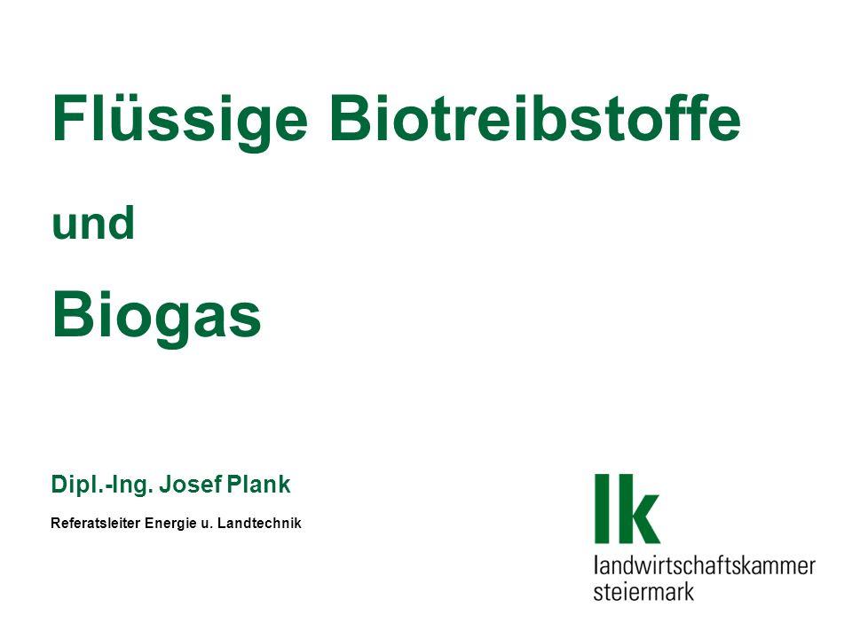 Flüssige Biotreibstoffe und Biogas Dipl.-Ing. Josef Plank Referatsleiter Energie u. Landtechnik