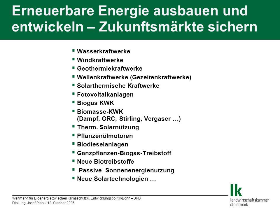 Weltmarkt für Bioenergie zwischen Klimaschutz u. Entwicklungspolitik/Bonn – BRD Dipl.-Ing. Josef Plank/ 12. Oktober 2006 Erneuerbare Energie ausbauen