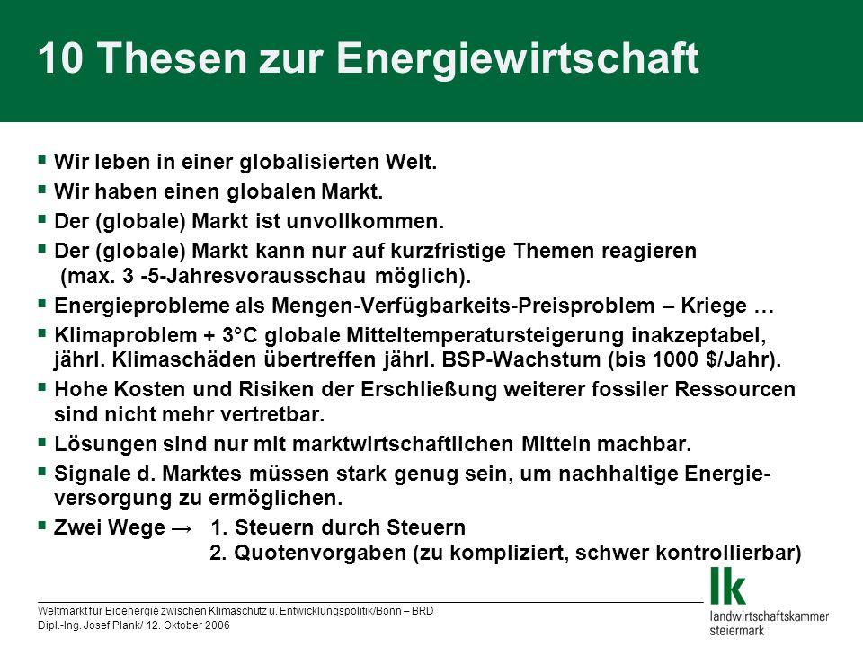 Weltmarkt für Bioenergie zwischen Klimaschutz u. Entwicklungspolitik/Bonn – BRD Dipl.-Ing. Josef Plank/ 12. Oktober 2006 10 Thesen zur Energiewirtscha