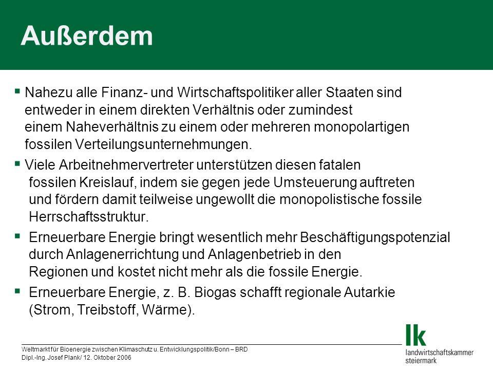 Weltmarkt für Bioenergie zwischen Klimaschutz u. Entwicklungspolitik/Bonn – BRD Dipl.-Ing. Josef Plank/ 12. Oktober 2006 Außerdem Nahezu alle Finanz-