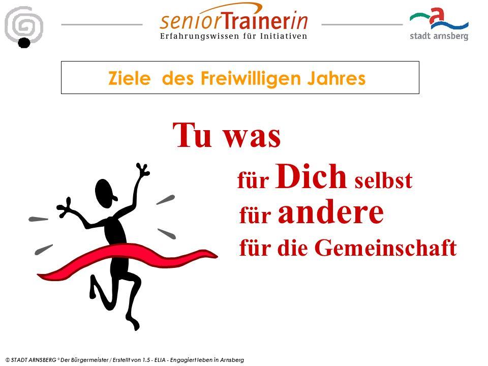 © STADT ARNSBERG ° Der Bürgermeister / Erstellt von 1.5 - ELIA - Engagiert leben in Arnsberg Ziele des Freiwilligen Jahres Tu was für Dich selbst für andere für die Gemeinschaft