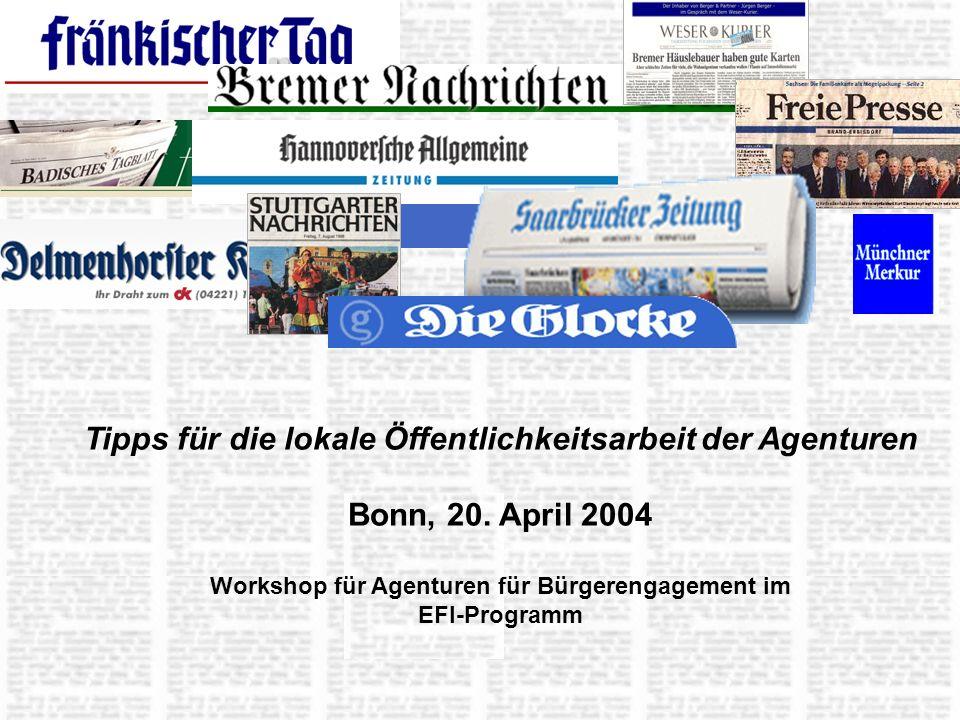 Tipps für die lokale Öffentlichkeitsarbeit der Agenturen Bonn, 20.