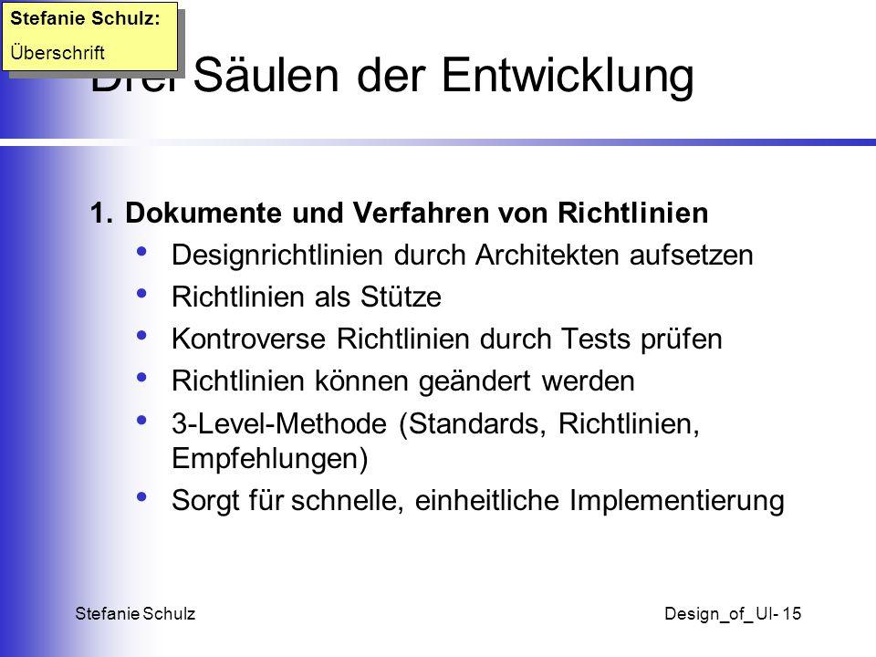 Stefanie SchulzDesign_of_ UI- 15 Drei Säulen der Entwicklung 1. Dokumente und Verfahren von Richtlinien Designrichtlinien durch Architekten aufsetzen