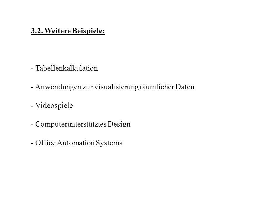 3.2. Weitere Beispiele: - Tabellenkalkulation - Anwendungen zur visualisierung räumlicher Daten - Videospiele - Computerunterstütztes Design - Office