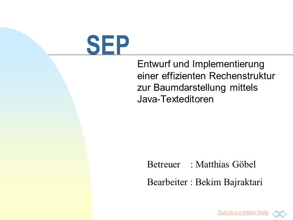 Zurück zur ersten Seite SEP Entwurf und Implementierung einer effizienten Rechenstruktur zur Baumdarstellung mittels Java-Texteditoren Betreuer : Matt