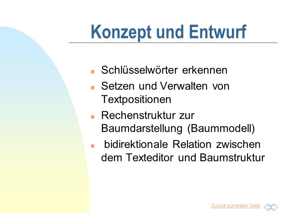 Zurück zur ersten Seite Modell vom TreeEditor Texteditor Adapter 1 Schnittstellen Adapter 2 Baummodell Class a{ int a; String str; void init(){ int a_1; boolean bool; }