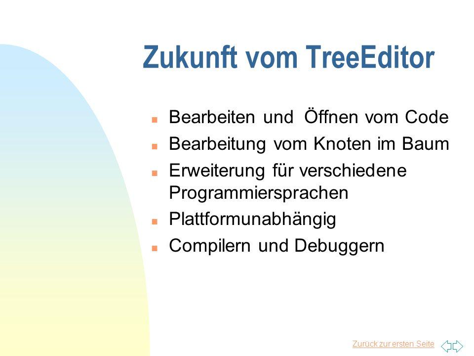 Zurück zur ersten Seite Zukunft vom TreeEditor n Bearbeiten und Öffnen vom Code n Bearbeitung vom Knoten im Baum n Erweiterung für verschiedene Programmiersprachen n Plattformunabhängig n Compilern und Debuggern