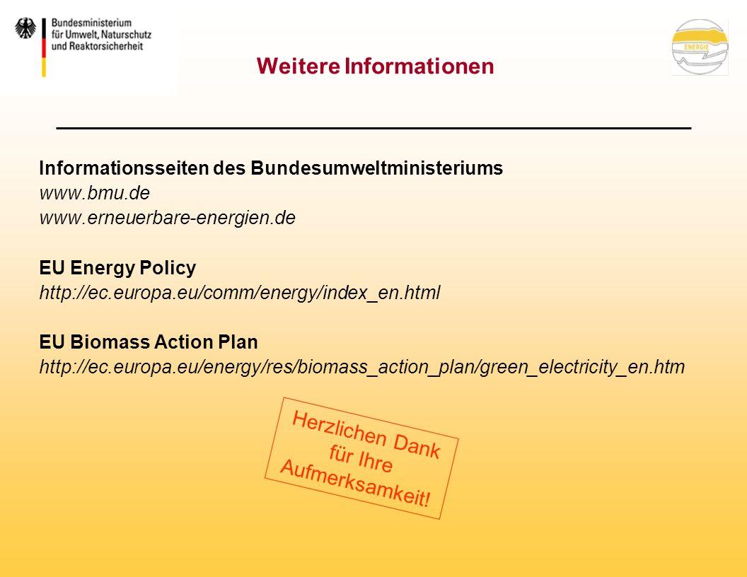 Weitere Informationen Informationsseiten des Bundesumweltministeriums www.bmu.de www.erneuerbare-energien.de EU Energy Policy http://ec.europa.eu/comm/energy/index_en.html EU Biomass Action Plan http://ec.europa.eu/energy/res/biomass_action_plan/green_electricity_en.htm Herzlichen Dank für Ihre Aufmerksamkeit!