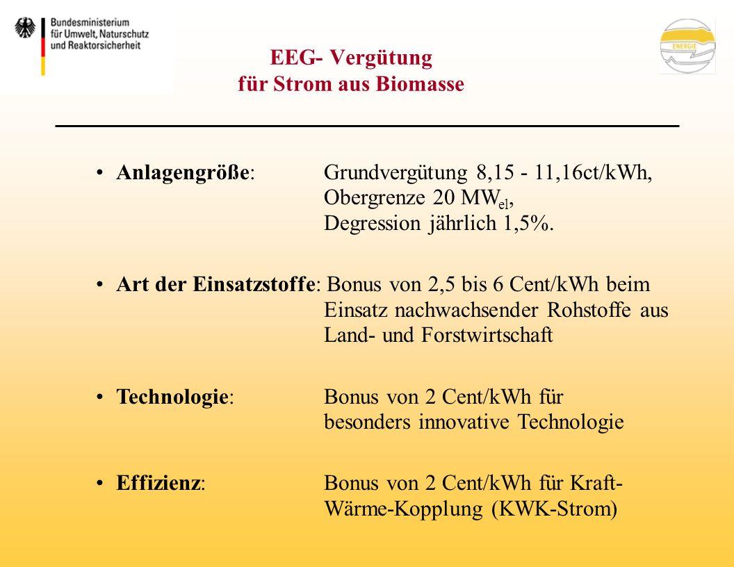 EEG- Vergütung für Strom aus Biomasse Anlagengröße: Grundvergütung 8,15 - 11,16ct/kWh, Obergrenze 20 MW el, Degression jährlich 1,5%.