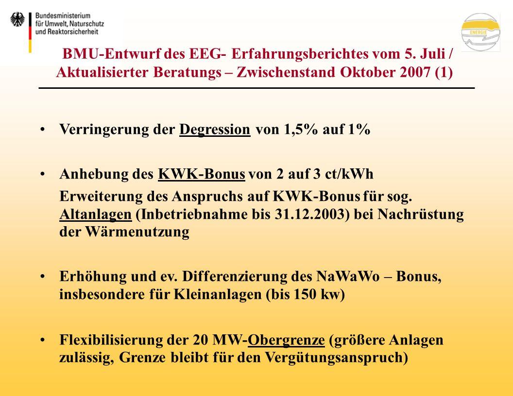 BMU-Entwurf des EEG- Erfahrungsberichtes vom 5.