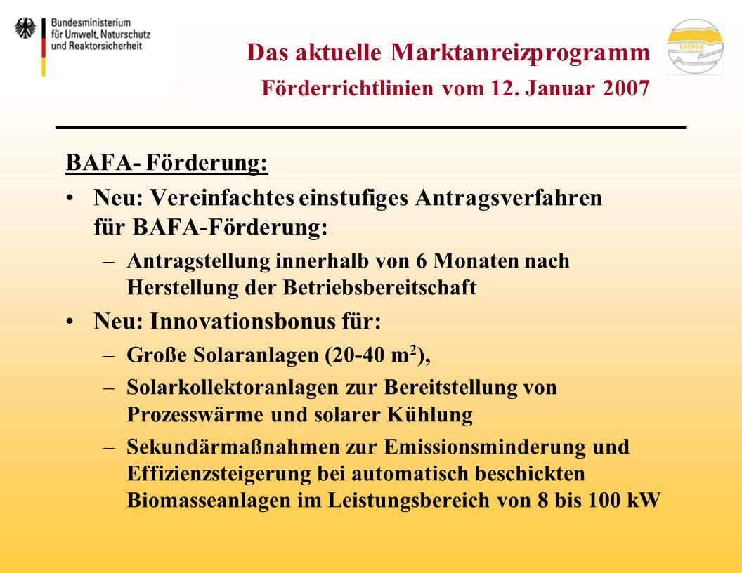 Das aktuelle Marktanreizprogramm Förderrichtlinien vom 12.