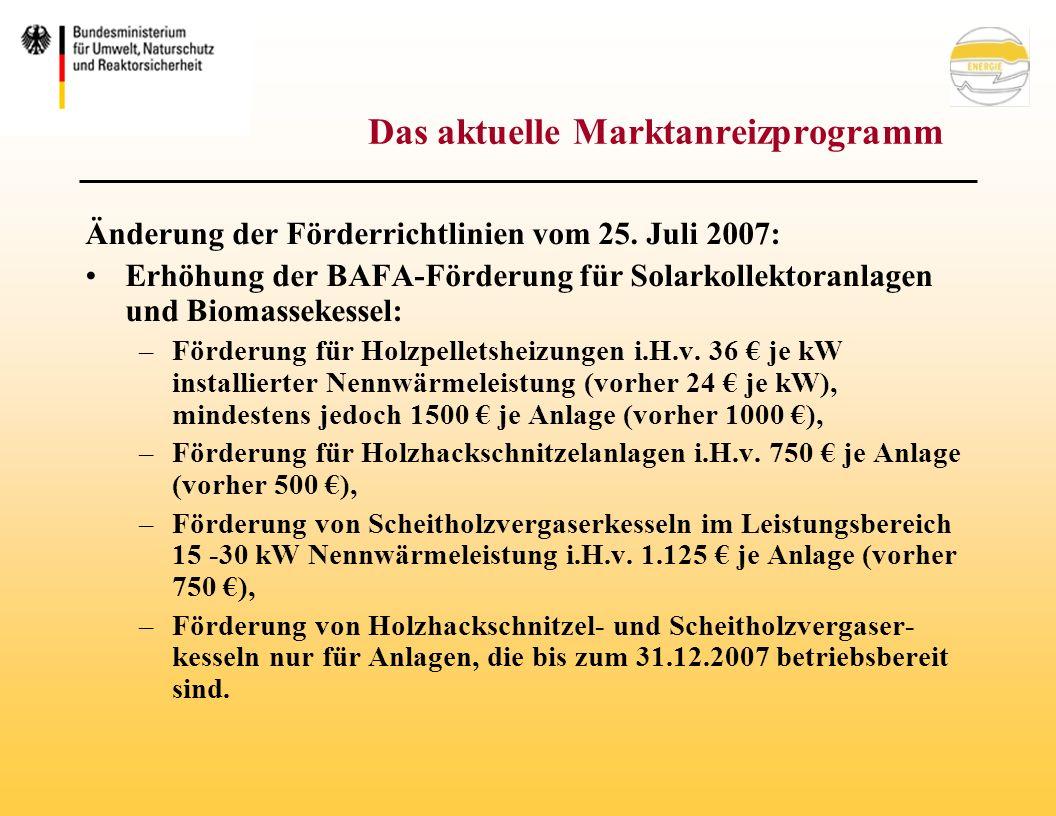 Das aktuelle Marktanreizprogramm Änderung der Förderrichtlinien vom 25.